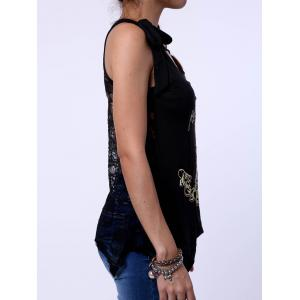 Women's Stylish Scoop Neck Skulls Print Lace Splicing Tank Top -