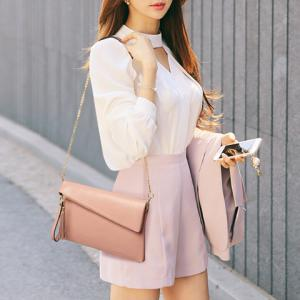 Sweet Tassel and Solid Color Design Crossbody Bag For Women -