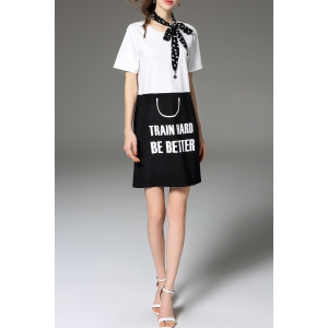 Lettering Color Block Tee Dress -