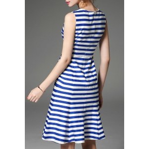 Stripe Print Embroidered Dress -
