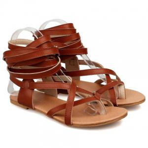 Leisure Solid Colour and Cross Straps Design Sandals For Women -