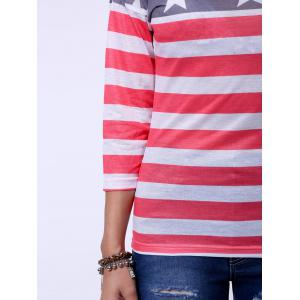 Long Sleeve Distressed American Flag T-Shirt - RED XL