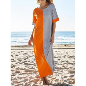 Half Sleeve Color Block Loose Jersey Maxi Dress - Colormix - M