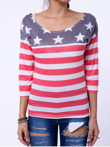 Stylish Scoop Collar Long Sleeve Striped Star Print Women's T-Shirt - RED M