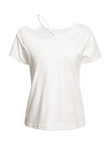 Affordable Trendy Short Sleeve Cut Out Solid Color Women's T-Shirt