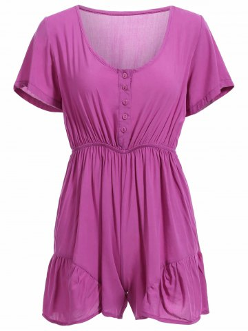 Casual Short Sleeve V Neck Buttoned Romper