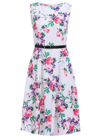 Fashion Chic Women's Floral Print Belted Sleeveless Dress