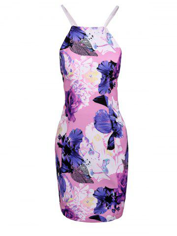 Fancy Chic Spaghetti Strap Floral Print Hollow Out Skinny Women's Dress PINK S