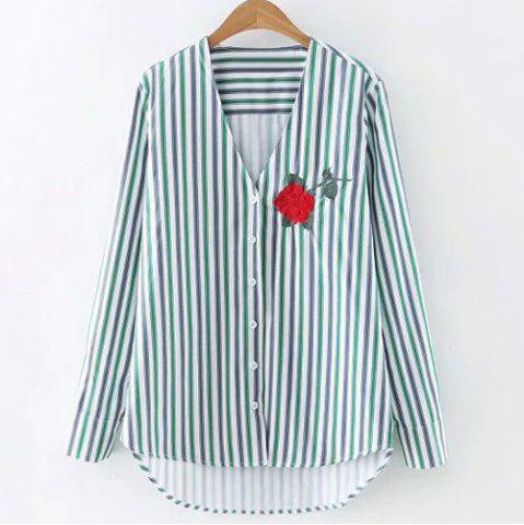 Unique Flower Embroidery Striped Shirt
