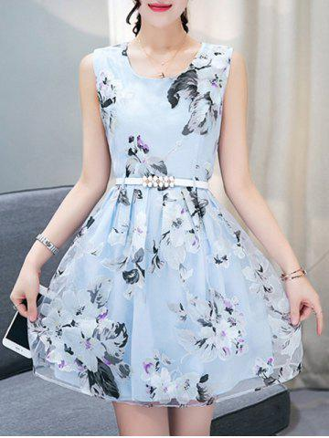 Sale Mini Floral Printed Flare Dress