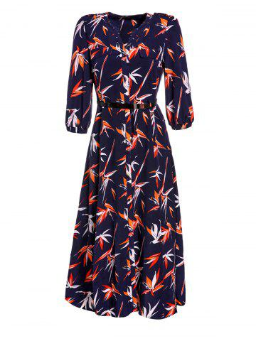 Chic V-Neck Half Sleeve Button Design Printed Slit Women's Dress - Deep Blue - L