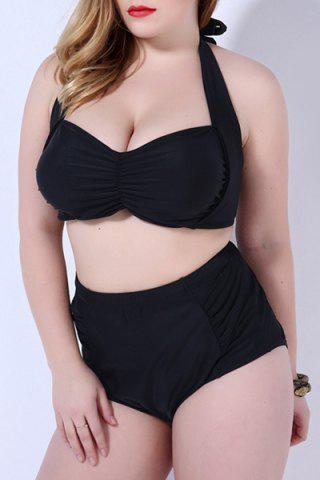 Discount Charming Plus Size Halter Solid Color High Waist Bikini Set For Women
