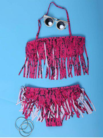 Affordable Strapless Fringe Bandeau Bikini Set ROSE S