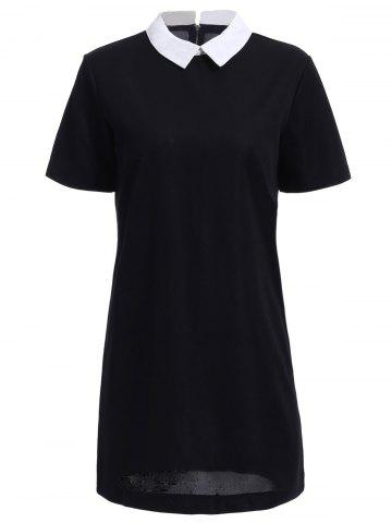 Online Chic Polo Collar Back Zipper Short Sleeve Dress For Women