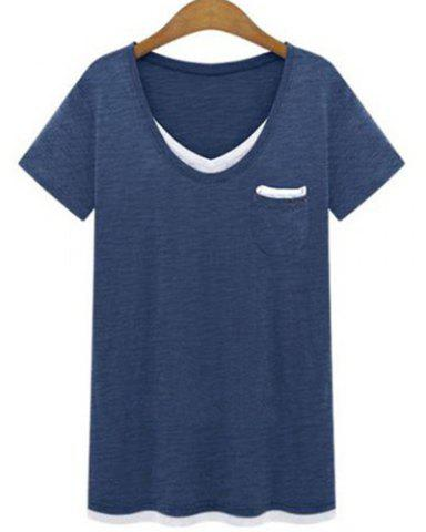 Affordable Plus Size Casual V-Neck Short Sleeve Color Spliced Loose Women's T-Shirt CADETBLUE 3XL