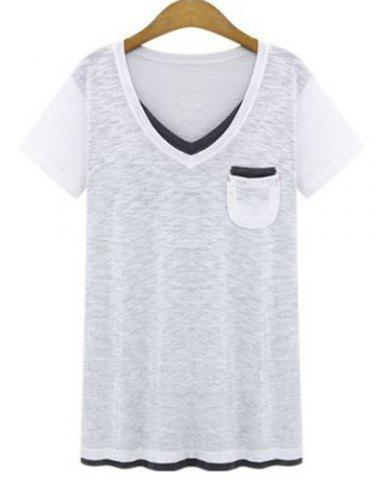 Plus Size Casual V-Neck Short Sleeve Color Spliced Loose Women's T-Shirt - WHITE XL