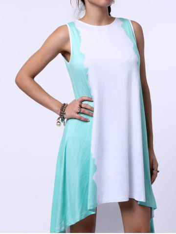 Affordable High Low Trapeze Tank Sunmmer Dress WHITE AND GREEN S