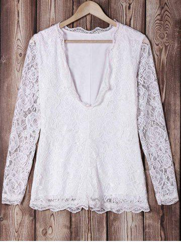 Latest Stylish Long Sleeves Plunging Neck Lace Openwork Women's Romper