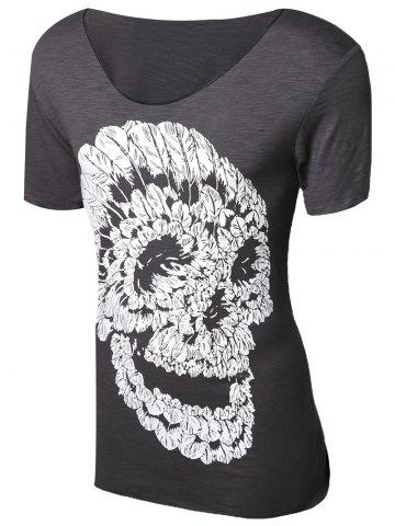 Unique Casual Pullover Skull Printed T-Shirt For Men GRAY M