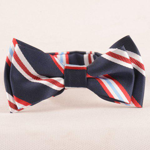 Store Stylish Stripe Pattern Purplish Blue Double-Deck Bow Tie For Boys PURPLISH BLUE