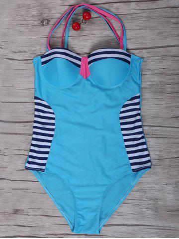 Outfits Sexy Stripe Criss-Cross Swimsuit For Women AZURE S