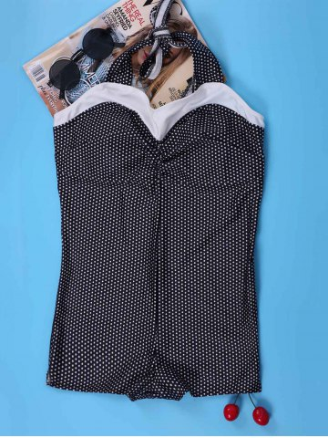 Chic Vintage Halter Polka Dot One Piece Bathing Suit For Women