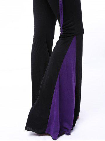 Outfit Chic Elastic Waist Hit Color Loose-Fitting Women's Pants PURPLE S