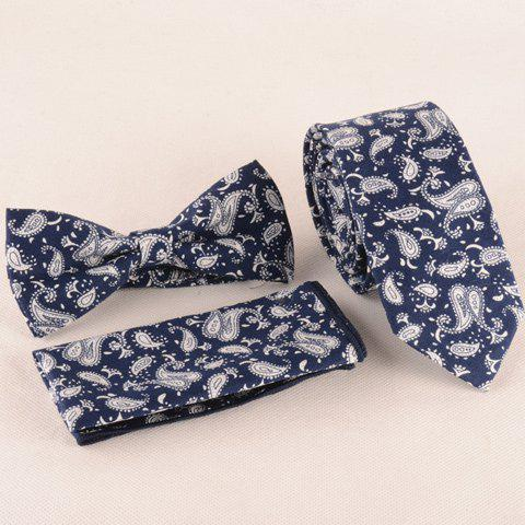 Buy One Set Paisley Pattern Deep Blue Tie Handkercheif and Bow Tie