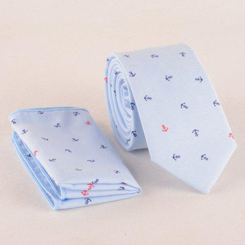 One Set Boat Anchor Pattern Light Blue Tie and Handkercheif - Light Blue - S