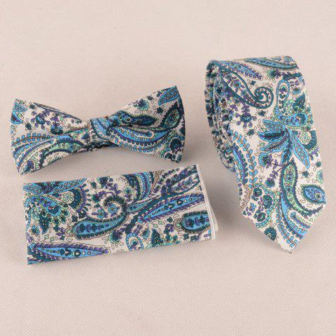Discount One Set Blue Paisley Pattern Tie Handkercheif and Bow Tie BLUE