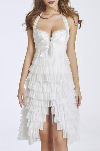 Discount Halter Ruffle Layered Cocktail Dress WHITE S