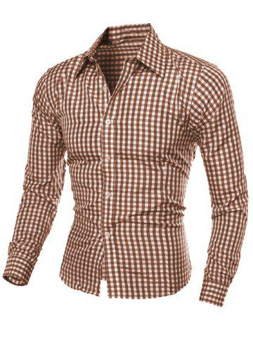 Trendy Casual Turn-Down Collar Pliad Print Slimming Long Sleeve Men's Shirt COFFEE M