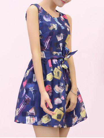 Stylish Women's Sleeveless Perfume Bottle Print Bowknot Design Organza Dress от Rosegal.com INT