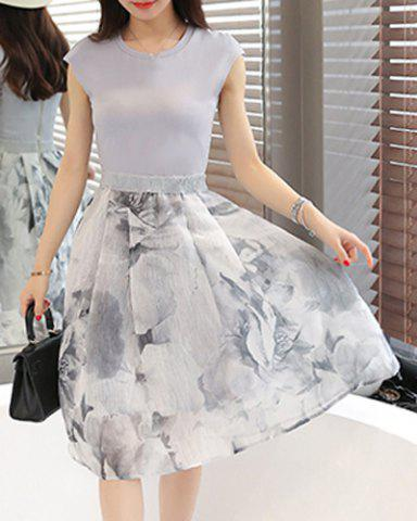 Shop Elegant Jewel Neck Sleeveless Patchwork Printed Dress For Women WHITE M