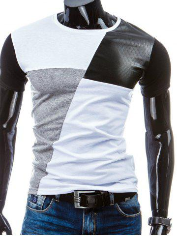 Chic Casual Round Collar Pullover Splicing T-Shirt For Men WHITE M