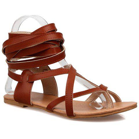 Shops Leisure Solid Colour and Cross Straps Design Sandals For Women