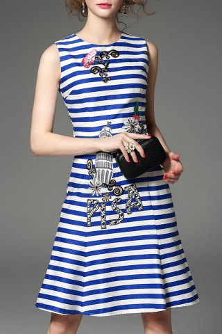 Cheap Stripe Print Embroidered Dress