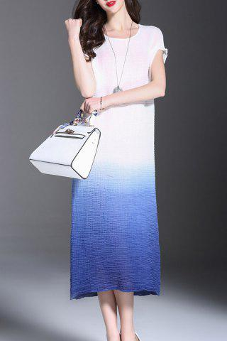 Buy Scoop Neck Ombre Ruched Midi Dress