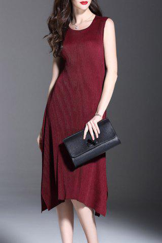 Unique Ruched Solid Color Sleeveless Dress