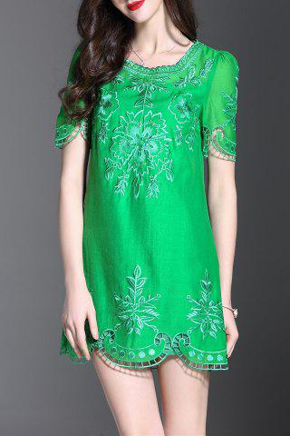 Buy Embroidered Hollow Out Mini Dress
