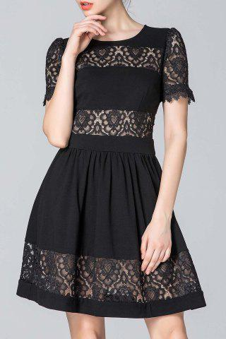 New Lace Patchwork Black A-Line Dress