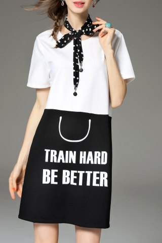 Online Lettering Color Block Tee Dress