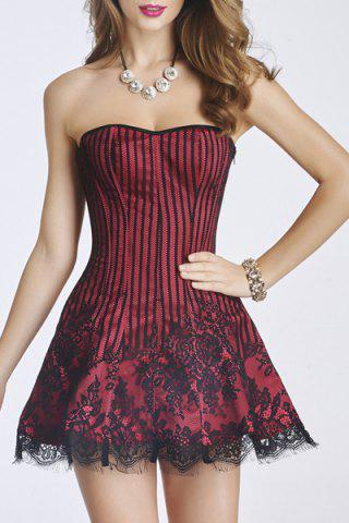 Outfit Strapless Lace-Up Bandeau Short Corset Skater Dress - S RED Mobile