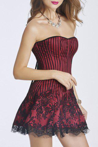 Chic Strapless Lace-Up Bandeau Short Corset Skater Dress - S RED Mobile
