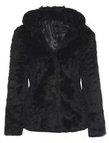 Outfits Trendy Hooded Long Sleeve Pure Color Faux Fur Coat For Women BLACK XL