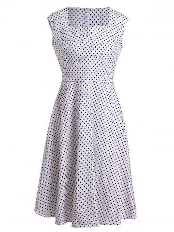 Trendy Sleeveless Polka Dot A Line Pin Up Dress