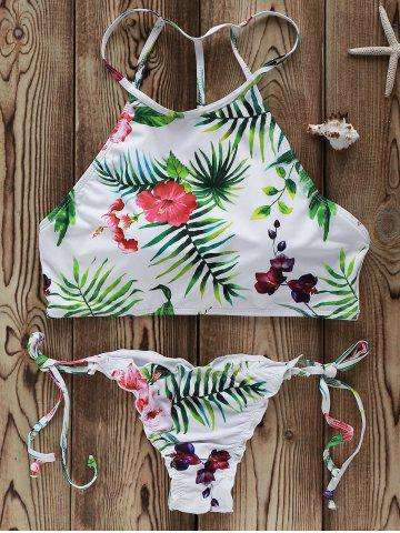 Buy High Neck Strappy Flowers Print Bikini Swimsuit WHITE L