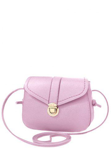 Sale Sweet Solid Color and Push Lock Design Crossbody Bag For Women PINK