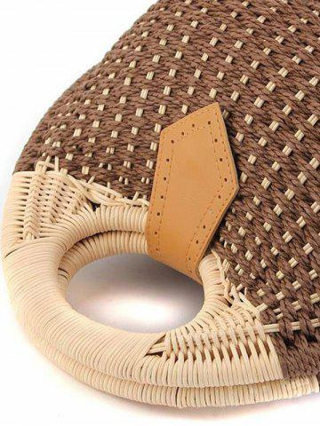 Trendy Trendy Round Shape and Weaving Design Tote Bag For Women - OFF-WHITE  Mobile