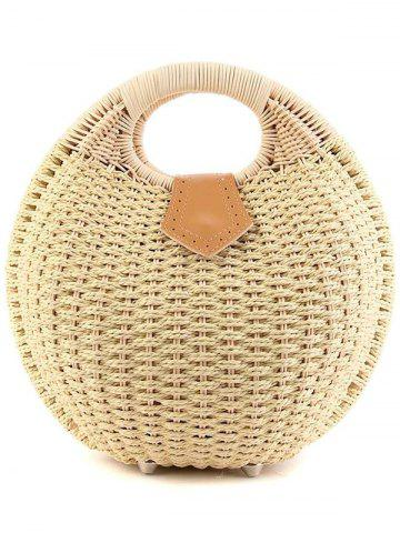 Online Trendy Round Shape and Weaving Design Tote Bag For Women - OFF-WHITE  Mobile
